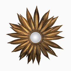 Vintage Golden Metal Flower Shaped Sunburst Mirror, 1980s