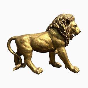 Golden Bronze Animal Sculpture Representing a Lion, Paris, 1940s