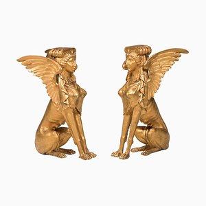 Goldene Sphinxe aus Vergoldetem Holz, 19. Jh., Italien, 2er Set