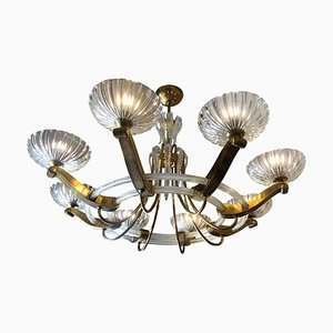 Italian Art Deco Artistic Murano Glass and Brass Chandelier, 1940s