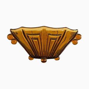Vase ou Milieu de Table Art Déco en Verre Épais Décoratif, 1930s