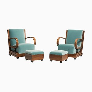 Art Deco Walnut Armchairs & Ottomans in Light Green Velvet, 1930s, Set of 4