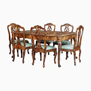 Late 19th Century Swedish Burr Walnut Dining Table & Chairs, Set of 7