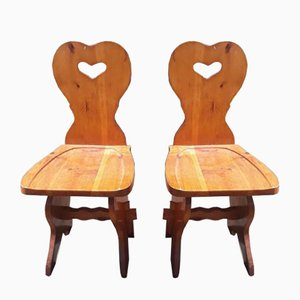 Fir Wooden Chairs, 1980s, Set of 2