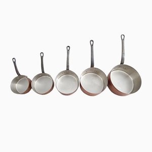 Copper Pan Set, 1960s, Set of 5