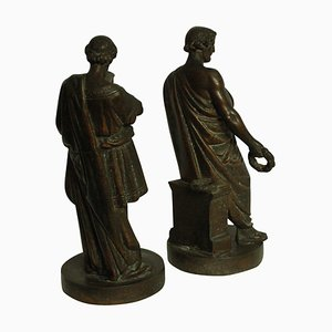 Antique Bronze Phidias and Pericles Sculptures, Set of 2