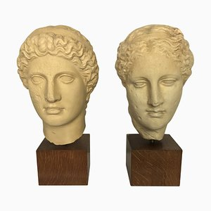 Life.Size Painted Plaster Classical Head Sculptures, 1960s, Set of 2