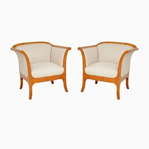 Antique Swedish Biedermeier Armchairs, Set of 2