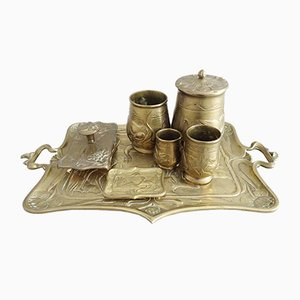 Art Nouveau Brass Desk Set