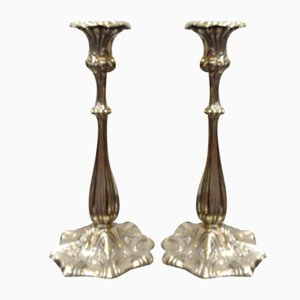 Antique Silver-Plated Candleholders, Set of 2