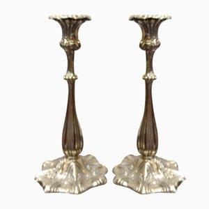 Versilberte antike Kerzenhalter, 2er Set