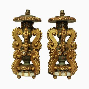 Antique Italian Giltwood Table Lamps, Set of 2