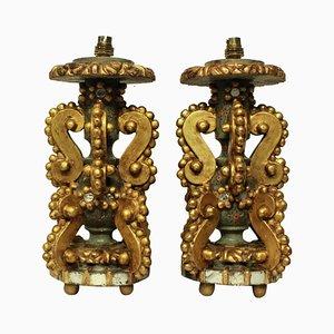 Lampes de Bureau Antique en Bois Doré, Italie, Set de 2