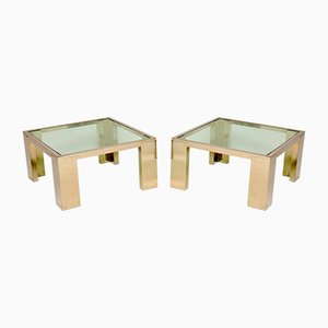 Chrome & Glass Side or Coffee Tables, 1970s, Set of 2