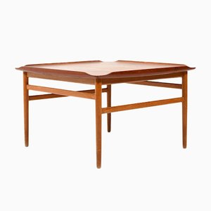 Mid-Century Square Teak and Oak Coffee Table by Folke Ohlsson for Tingströms, 1950s