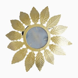Florale goldene Deckenlampe, 1970er