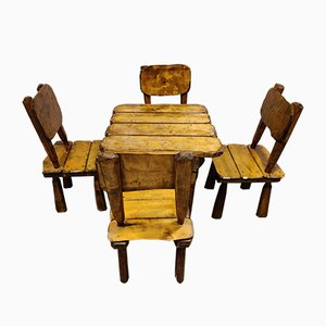 Vintage Wabi Sabi Dining Chairs and Table Set, 1970s, Set of 5