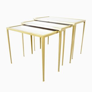 Hollywood Regency Brass Nesting Tables from Vereinigte Werkstätten Collection, 1950s
