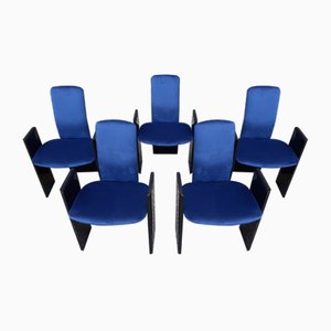 Black Lacquered Wood and Electric Blue Velvet Dining Chairs from Arflex, 1960s, Set of 5