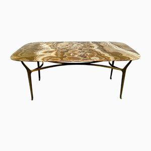 Brass and Alabaster Coffee Table by Saverio Jannace for Jannace e Kovacs, 1950s