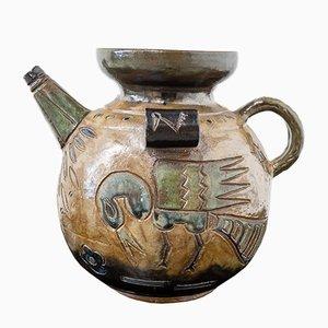 Französischer Mid-Century Bucaro Glasierter Keramik Krug, 1960er