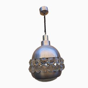 Aluminum and Crystal Glass Ceiling Lamp by Pia Guidetti Crippa for Lumi, 1970s