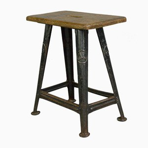 Vintage Industrial Factory Stool from Rowac, 1930s