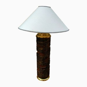 Wood and Brass Sculptural Table Lamp, 1950s