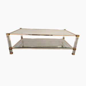Brass and Lucite Coffee Table by Pierre Vandel, 1970s