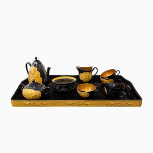 Black and Gold Lacquered Sandalwood Tea Set, 1960s