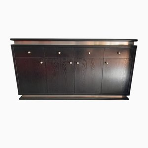 Italian Ebonized Wood and Aluminum Chest of Drawers, 1970s, Set of 2