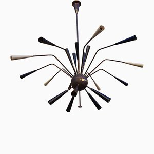 Black, Beige, and Brass 20-Light Sputnik Ceiling Lamp, 1950s