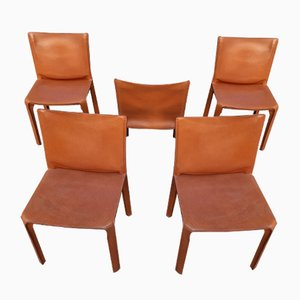 Brown Leather Model 413 Dining Chairs by Mario Bellini for Cassina, 1970s, Set of 5