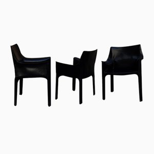 Black Leather Model 70 413 Cab Lounge Chairs by Mario Bellini for Cassina, 1970s, Set of 3