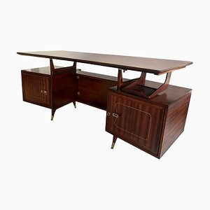 Mid-Century Italian Mahogany Executive Desk from La Permanente Mobili Cantù, 1950s