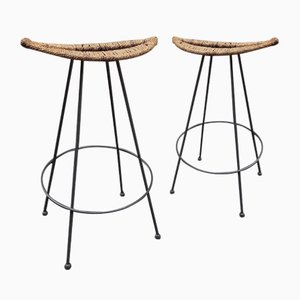 Iron and Banana Cane Stools Attributed to Tom Dixon for Cappellini, 1970s, Set of 2