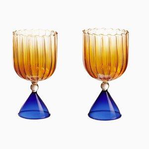 Juego Calypso para vino y agua en ámbar de Serena Confalonieri