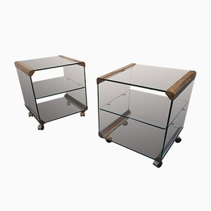 Brass and Glass Nightstands from Gallotti & Radice, 1960s, Set of 2