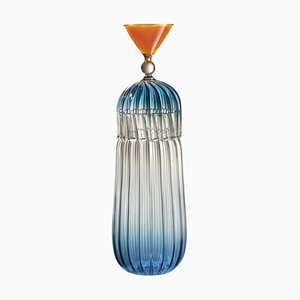Calypso Blue Bottle + Glass by Serena Confalonieri