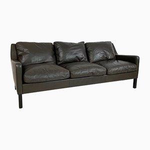 Danish Dark Brown Leather 3-Seater Sofa, 1970s