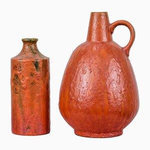 Orangefarbene Keramikvasen von Kurt Tschörner für Ruscha, 1960er, 2er Set