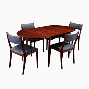 Juego de mesa de comedor y sillas de caoba danés, años 70. Juego de 5