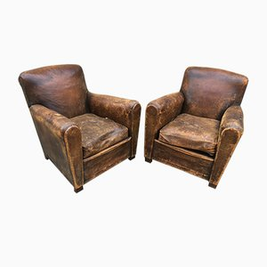 Leather Club Chairs, 1920s, Set of 2