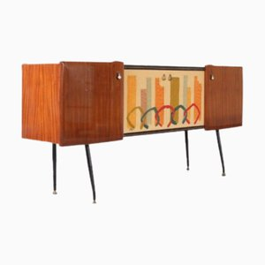 Mid-Century Italian Sideboard with Painted Doors, 1950s