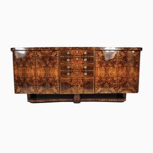 Buffet Art Déco impiallacciato in legno di noce, anni '40