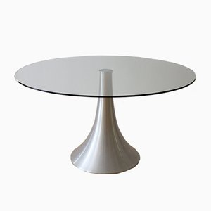 Vintage Italian Dining Table with Tulip Base and Glass Top, 1970s