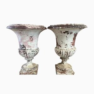 Antique French Cast Iron Urns, Set of 2