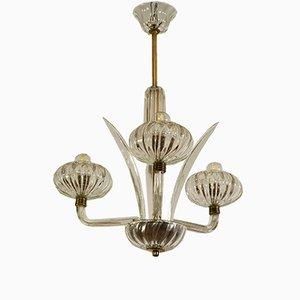 Lámpara de techo Art Déco vintage de cristal de Murano, años 30