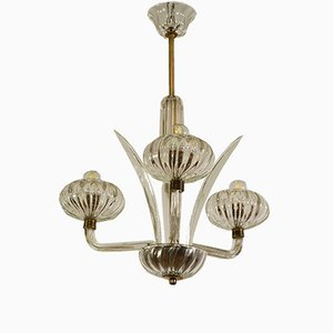 Vintage Art Deco Murano Glas Deckenlampe, 1930er