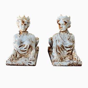 Antique Victorian Cast Iron Sphinx Garden Statues, Set of 2